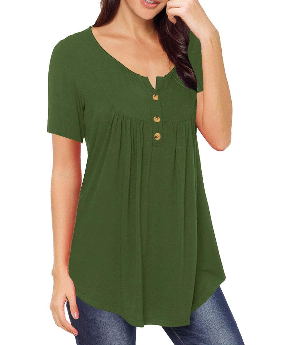AMCLOS Womens V Neck T-Shirts Swing Ruffle Tops Button up Tunic Blouses Casual Henleys Short/Long Sleeve