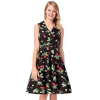 780c59b0603c Antaina Col Noir Revers des Années 1950 Col Évasé Robe De Soirée Plissée  Femme