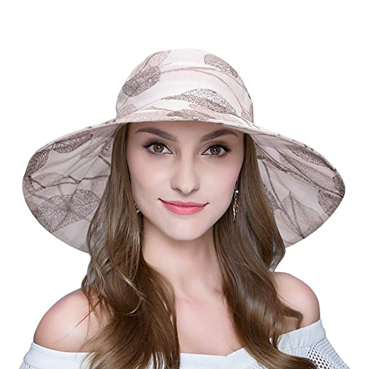AOMUU Womens Summer Sun hat UV Protection Packable Floppy Wide Brim Beach  Hat Khaki a7f3f1718ff