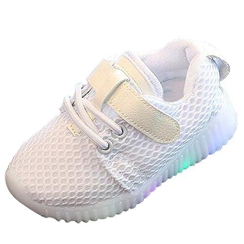 BOZEVON LED Zapatillas Niños Niñas Unisex - Niños Color Luces Luminosos Zapatos Deportivos, Blanco: Amazon.es: Zapatos y complementos