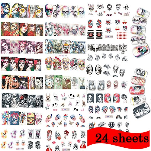 Lookathot 8/24 Sheets Nail Art Stickers Decals Skull Mixed Styles Nail DIY Decoration Tools Christmas Halloween (A+B+C(24 (Halloween Eyeshadow Decals)