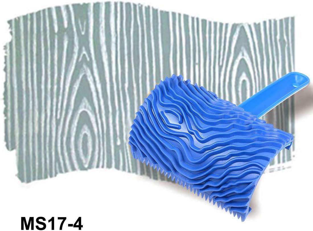 Carte de Source Grain de bois Outil 6,3/cm avec poign/ée en bois en caoutchouc Empaistic Grain Motif tampon encreur pour peinture murale D/écoration DIY Bleu
