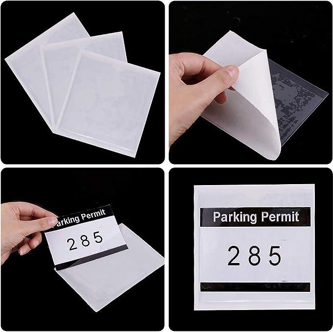 WENTS Porte-Cartes Adh/ésif en Plastique 10PCS Pochette pour Carte Autoadh/ésive avec Une Partie Sup/érieure Ouverte Id/éale pour Organiser et Prot/éger Votre Fiche 10.5 10.5cm