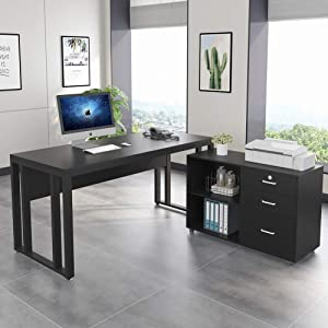 Tribesigns L-Shaped Computer Desk, 55 inch Large Executive Office Desk Business Furniture with 35 inch File Cabinet Mobile Printer Stand, Legal Size for Home Office (Black)