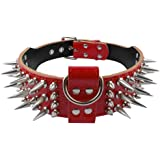"""PET ARTIST 2.0"""" Width Luxurious Leather Sharp Spike Studded Dog Collar,Rottweiler Pitbull Large X-Large Training Dogs Necklac"""