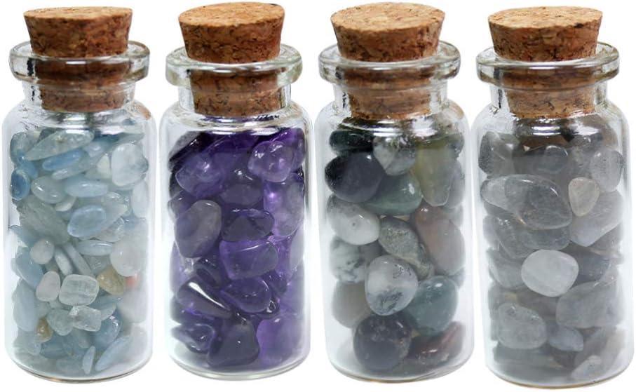 Vosarea 4 Piezas Que Desean Botellas Mini Chips de Piedras Preciosas Piedras Pulidas Botellas de Vidrio con Tapón de Corcho Diy Artesanía Decoración