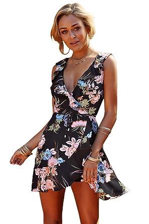 Sentao Donna Moda Vestito Collo V Casual Elegante Bohemian Floreale Abito  da Spiaggia Retro Cocktail Abito 4692d9acad8
