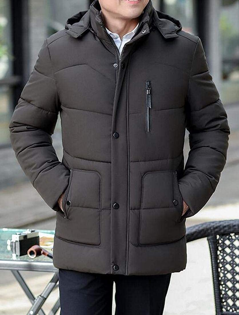ARTFFEL Mens Hoodie Warm Winter Casual Business Thicken Quilted Jacket Coat Outerwear