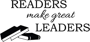 Empresal Readers Make Great Leaders Wall Decal Classroom Quote Door Decorations Teacher Reading Book Corner Art Library Decor