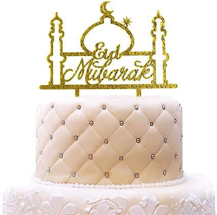 Amazon Com Personalized Eid Mubarak Cake Topper Ramadan Muslim Islamic Acrylic Gold Glitter For Wedding Baby Shower Birthday Party Decorations Toys Games