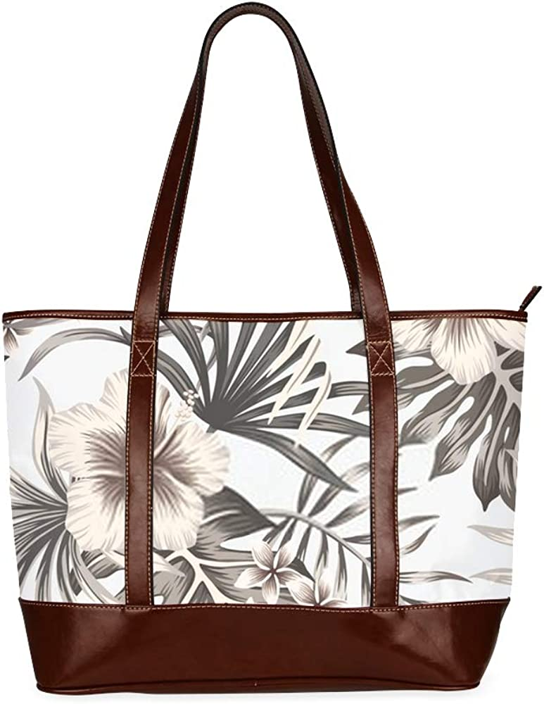 Tote Bags Tropical Vintage Graphic Hibiscus Plumeria Floral Travel Totes Bag Fashion Handbags Shopping Zippered Tote For Women Waterproof Handbag
