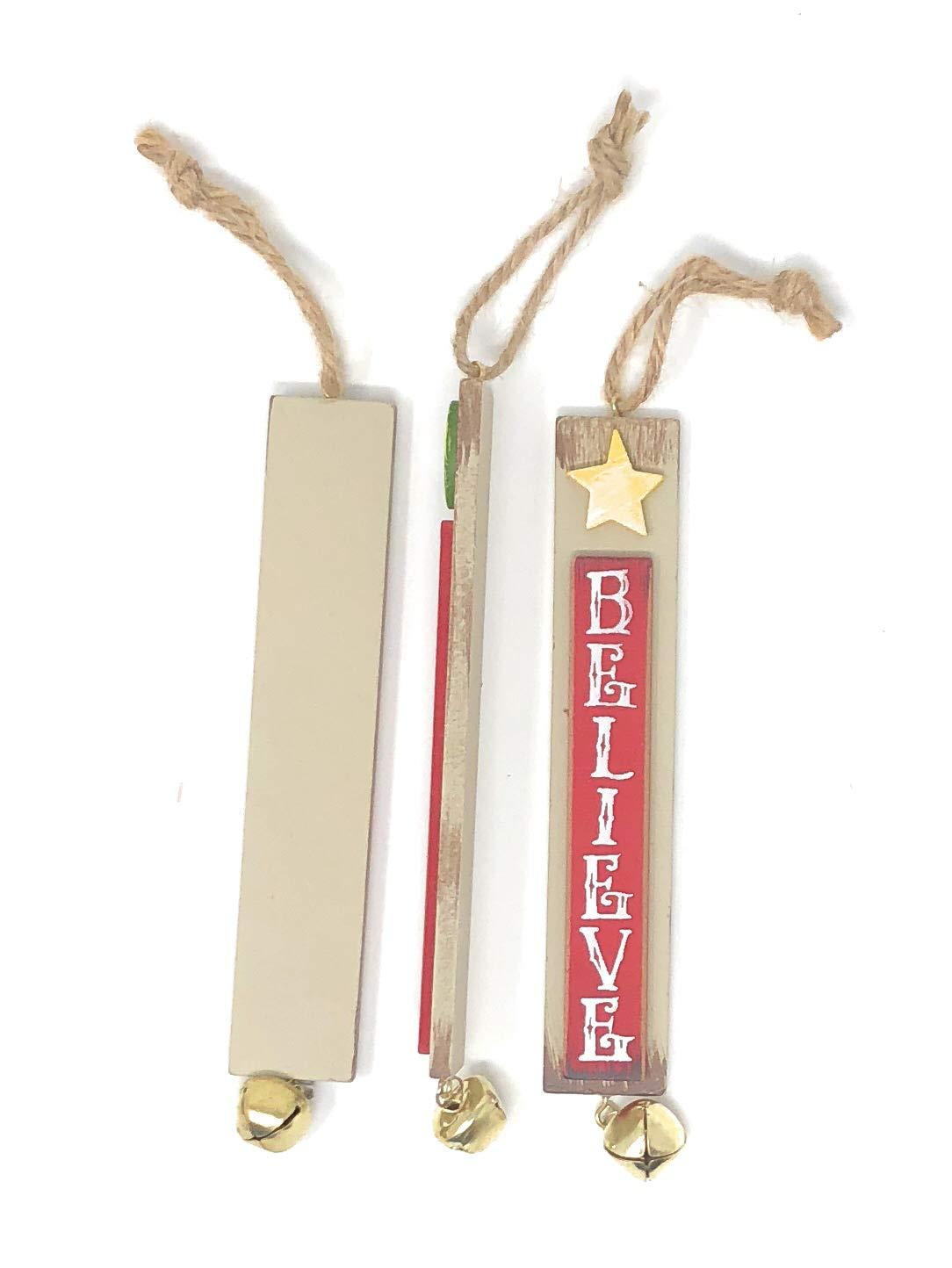 Hannas Handiworks Jingle Bell Christmas Ornaments Long Wooden Hanging Ornaments Set of 3