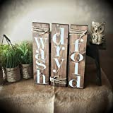 Rustic Bathroom Laundry Room Decor. Set of 3 signs. NO STICKERS or stencils. FREE SHIPPING
