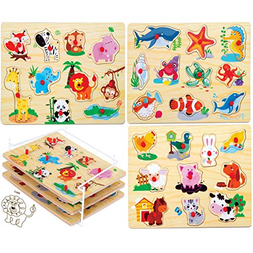 Bundaloo 3 Piece Puzzle Set with Wire Rack - Wooden Animal Puzzles for Babies, Toddlers, and Preschool Kids - Set of Learning Toys and Storage Organizer - Wood Knobs for Sorting Animals -12x8.75in
