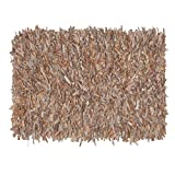 HF by LT Handwoven Leather Shag Rug, 24″ x 36″, Buff For Sale