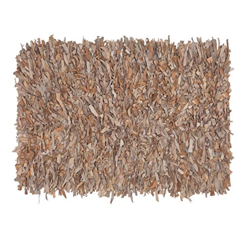 HF by LT Handwoven Leather Shag Rug, 24