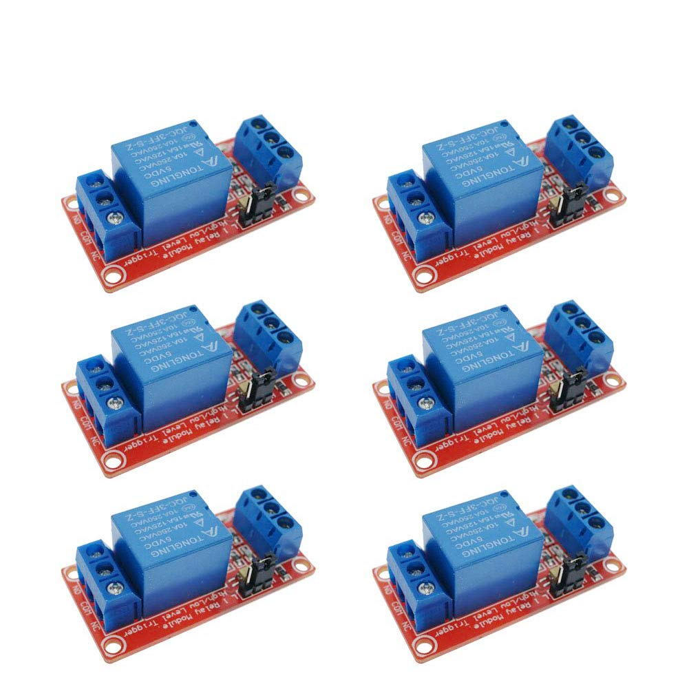 FICBOX 6Pack 5V One 1 Channel Relay Module Board Shield With Optocoupler Support High And Low Level Trigger Power Supply Module For Arduino