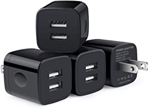 USB Wall Charger, CableLovers 4-Pack 2.1A/5V Dual Port USB Plug Power Adapter Brick Charger Brick Base Box Charging Cube Replacement for iPhone 11/Xs Max/Xs/XR/X 8/7/6 Plus, Samsung, LG, Moto, Android
