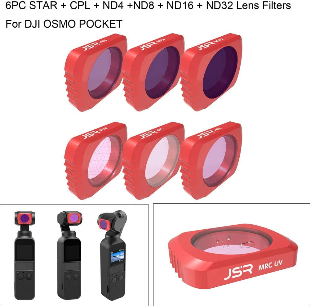 Chezaa Quick Swapping Magnetic Camera Lens Filters,Professional Waterproof Aluminium MRC,6pcs Star+CPL+ND4+ND8+ND16+ND32,for DJI OSMO Pocket