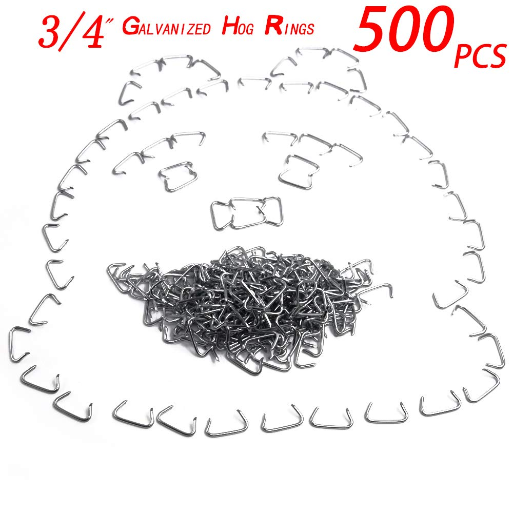 500pcs 3//4 Galvanized Professional Upholstery Hog Rings Kit for Bungee//Shock Cords//Animal Pet Cages//Bagging//Traps//Sausage Casing//Meat Bags//Fencing//Railing