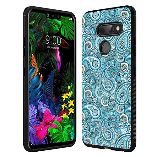 LG G8 ThinQ Leaf,Palm and Mango Tree Branch and Hawaiian Hibiscus Flower Image,Light Blue Turquoise and Dark Blue Case, Tire Tread Texture Anti-Drop Anti-Skidding PC+TPU Case ()