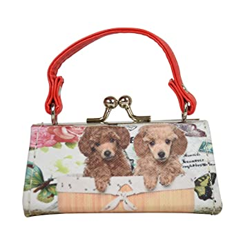 00efc36017aa Dog Lover Lipstick Case with Handle Mini Mahjong Coin Purse - Red Brown