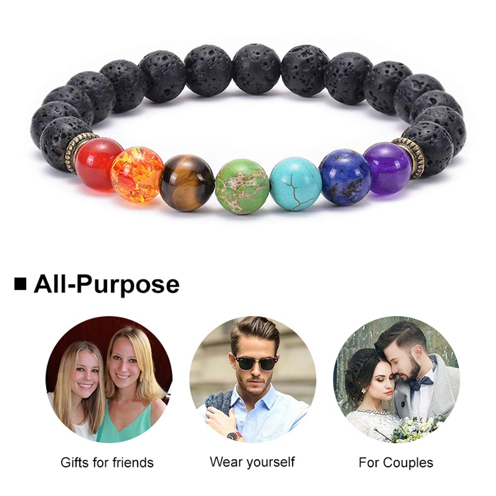 Swlttal 7 Chakra Beads Diffuser Essential Oil Anxiety Bracelet Stretch Bangle - Meditation, Aromatherapy, Healing