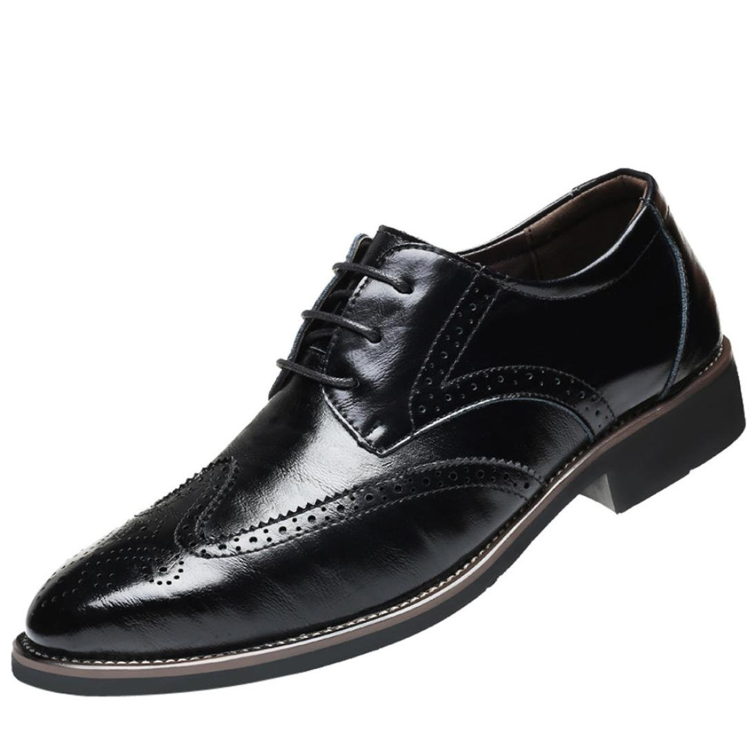 a4dd7d9180db WuyiM Classical Style Men's Breathable Hollow Business Leather Shoes  Pointed Toe Lacing-up Dress Wedding Formal Shoes Brown/Black/Wine/Navy Color