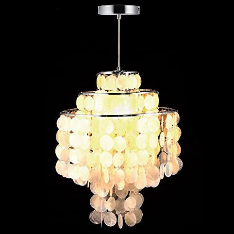 aero snail round chandelier with 3 light capiz seashells natural