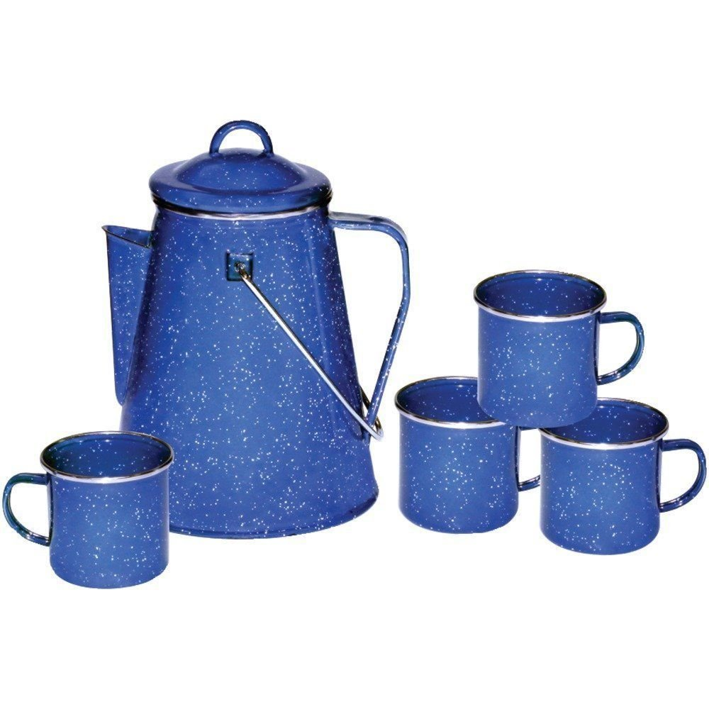 Camping 8 Cup Blue Enamel Percolator Coffee Pot RV Fire Pit Outdoor Maker Set by Sunday Market B01ARNF7K2