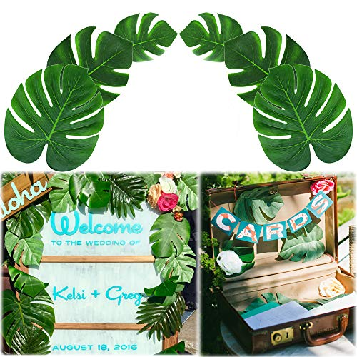 Soyee 36pcs Tropical Palm Leaves, DIY Waterproof Artificial Leaf Table Runners for Hawaiian Luau Tropical Party Decoration, Jungle Party Supply Table Decoration Accessories- (L/M/S Size)