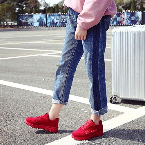 Zapatos de los deportes de las señoras zapatilla de deporte plana del ante suelas gruesas cordón-para arriba resorte / verano / otoño Red