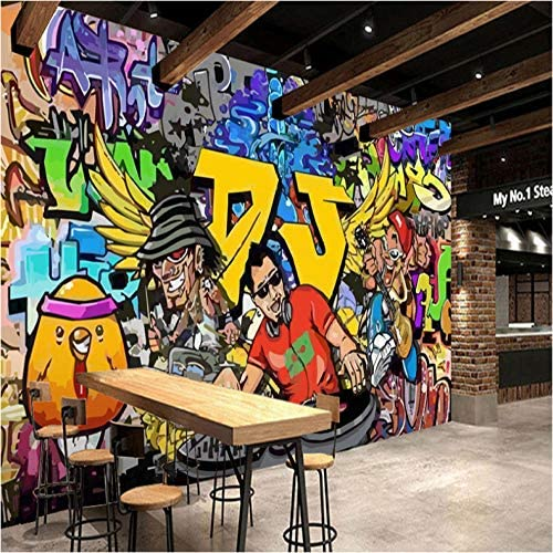 Clamsxgus 3D Wallpaper Modern Street Cartoon Letters Graffiti Bar Ktv Living Room Decoration Wall Decoration Mural Wallpaper -120X100Cm
