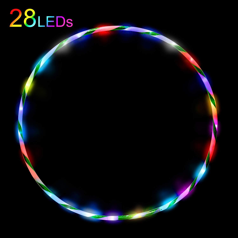 Hula Hoop pour Perdre du Poids avec la Mousse Dancing Fitness Glow /éclaircissant Hula Hoop pour Adultes et Enfants Exercice 28 Couleurs Strobing Changement de LED Multiples 90cm sans Batterie