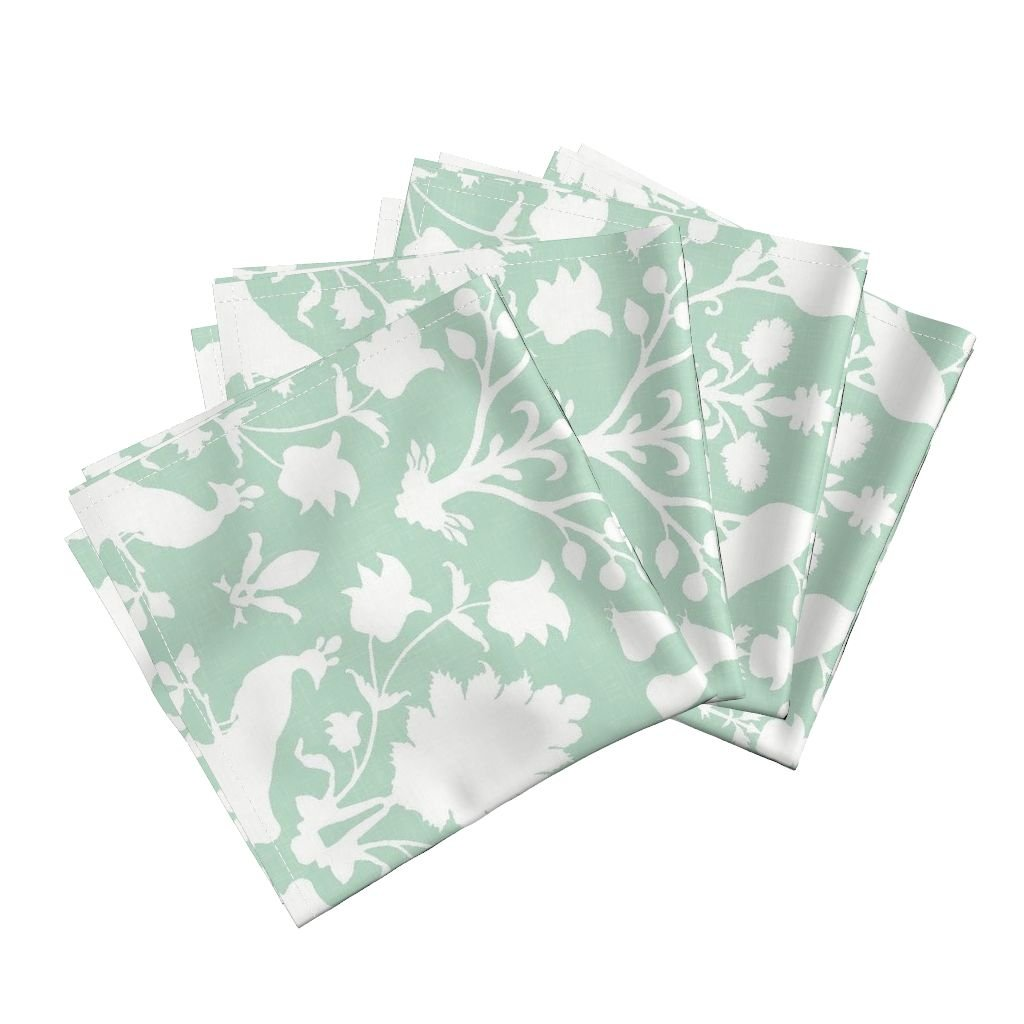 Roostery Birds Peacocks Damask Floral Linen Mint Spa Organic Sateen Dinner Napkins Oiseaux in Mint by Willowlanetextiles Set of 4 Dinner Napkins