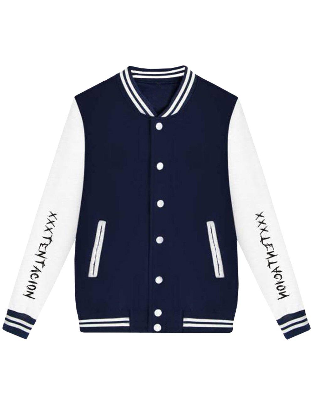 Detroital Unisex Xxxtentacion Baseball Jacket Sad Heart Graphic Rap Sweatshirt Navy Blue S