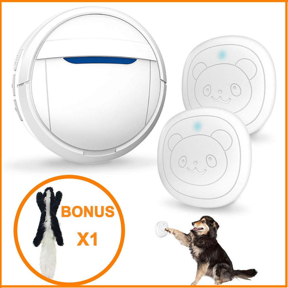 Dog Door Bell Wireless Touch, Smart Doggie Doorbell for Potty Training, IP55 Waterproof Touch Button Pet Doggy Dog Door Bell, Pet Dog Training Doorbells Include 2 Transmitters and 1 or 2 Receiver by Snewvie