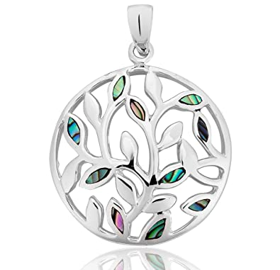 DTPSilver - 925 Sterling Silver and Abalone Paua Shell Pendant tZYdQE