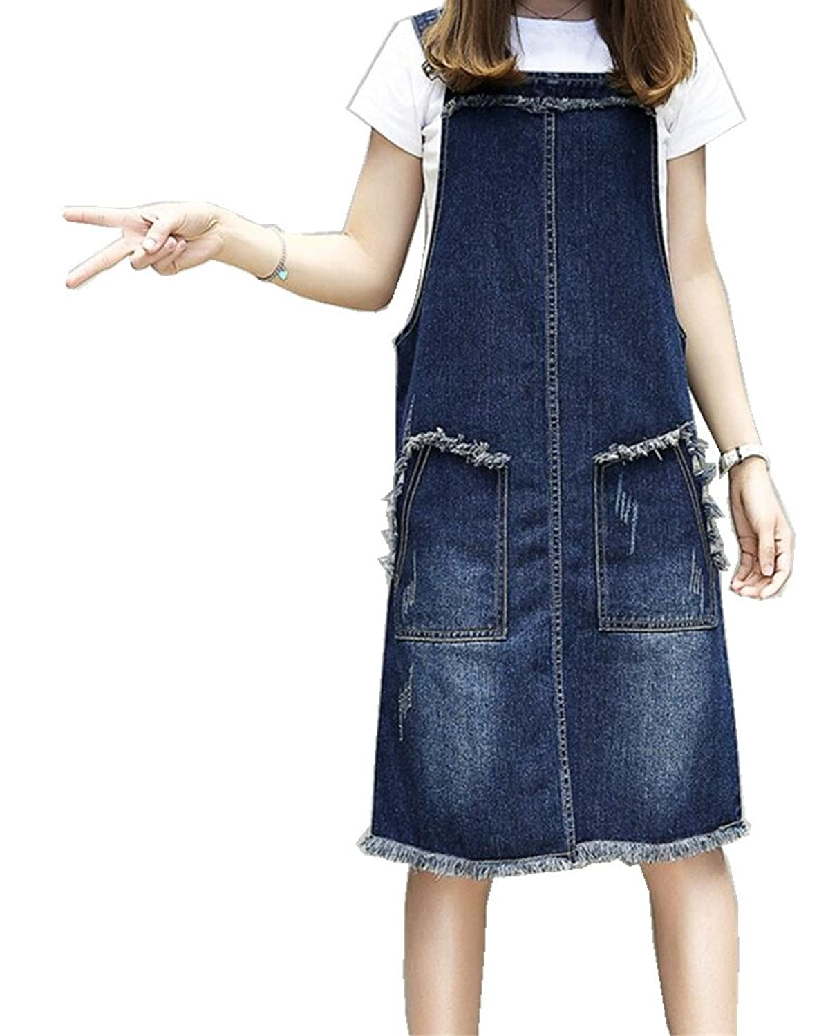 ACE SHOCK Women's Casual Knee Length Denim Suspender Skirt Overalls Dresses Jeans