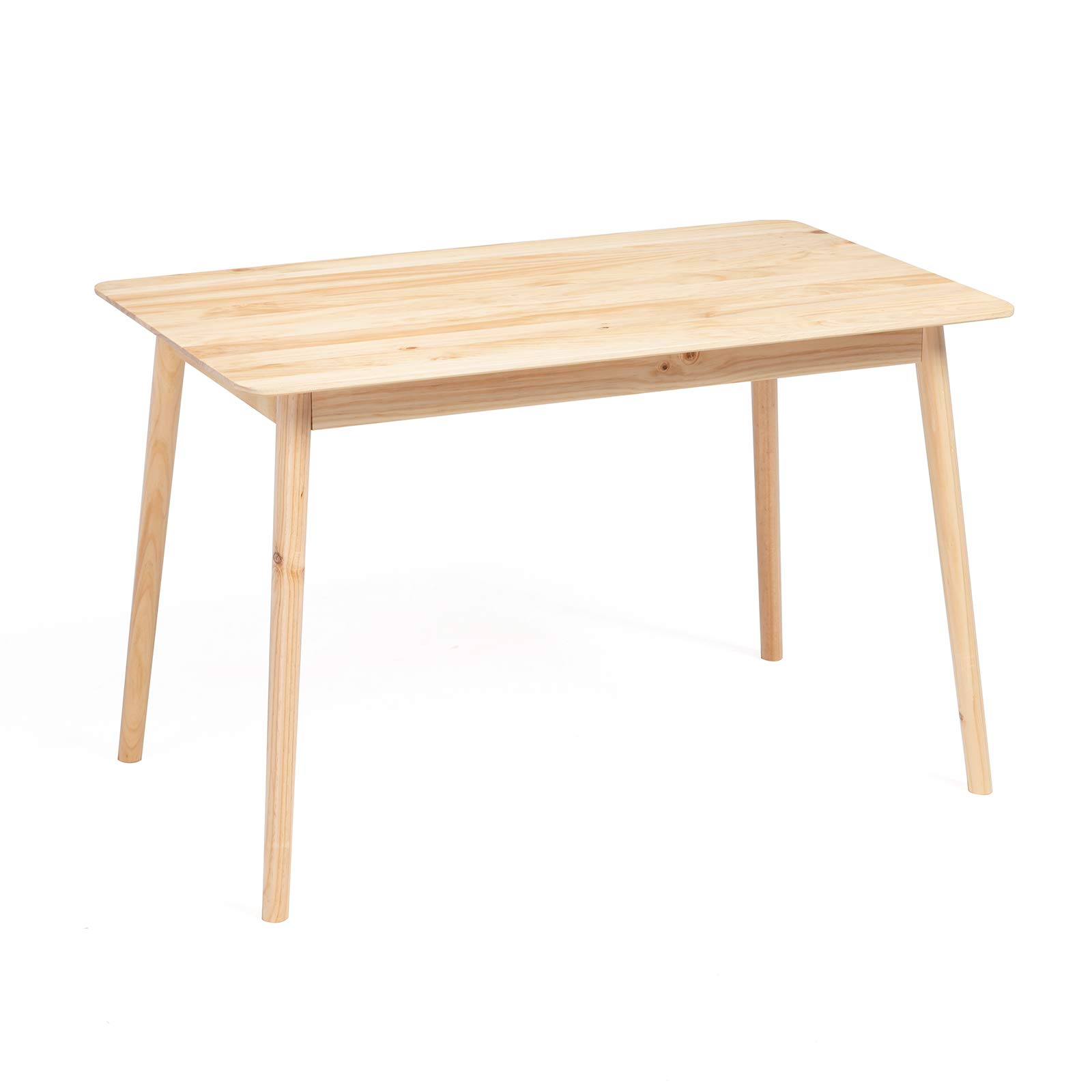 Mecor Wood Dining Table, Mid-Century Home Kitchen Table with Solid Pine Wood 47inch for 4/6 Persons, Natural by mecor