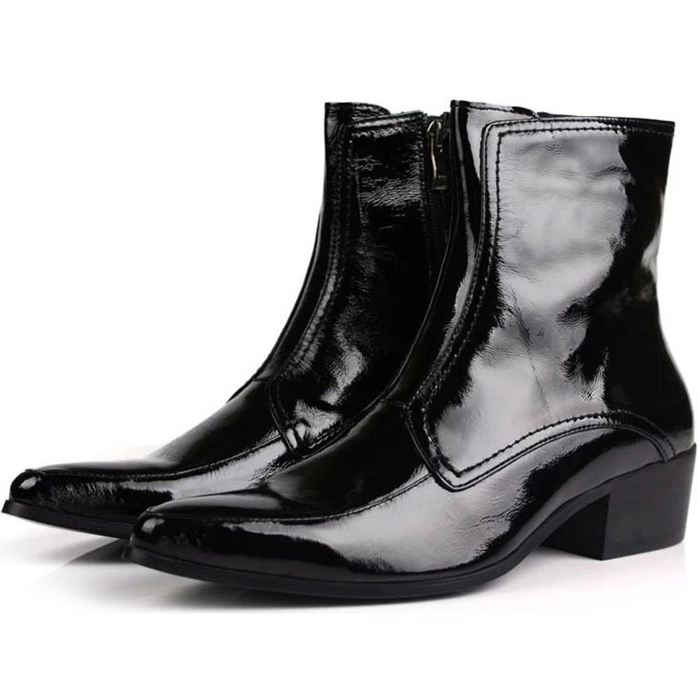 Fulinken Shinny Patent Leather Pointy Toe Dress Business Calf Boots Mens Shoes (8)