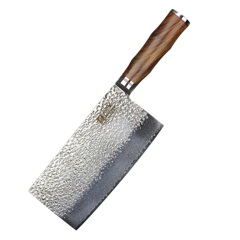 Sunlong Damascus 7-inch Home Chinese Chef Knife Vegetable Cleaver With Wooden Handle SL-DK10310R