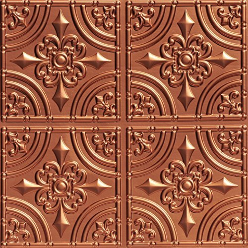 Wrought Iron-Faux Tin Ceiling Tile -Copper 25-Pack (Renewed)