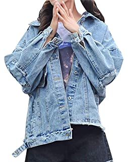 Womens Ladies Denim Long Sleeve Rip Destroyed Collared Button Biker Coat Jacket