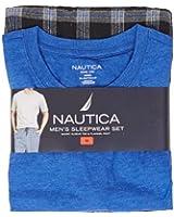 Nautica Men's 2-piece Flannel Lounge Set, with Short Sleeve Crew Neck T-shirt