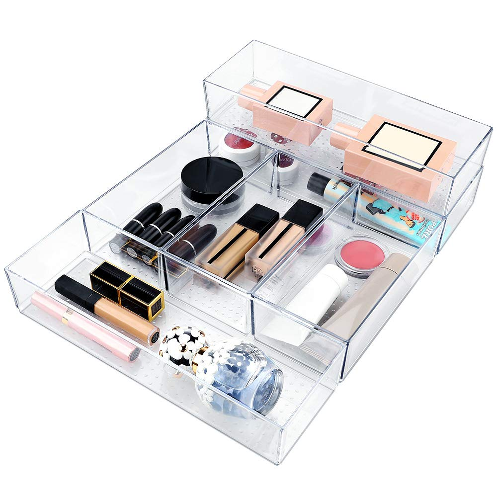 Mebbay 6 Pack Acrylic Drawer Organizer Trays Stackable, Clear Plastic Drawer Organizers for Makeup, Bathroom, Desk, Office, Kitchen, Utensil Vanity, Junk (3 Big and 3 Small) by Mebbay