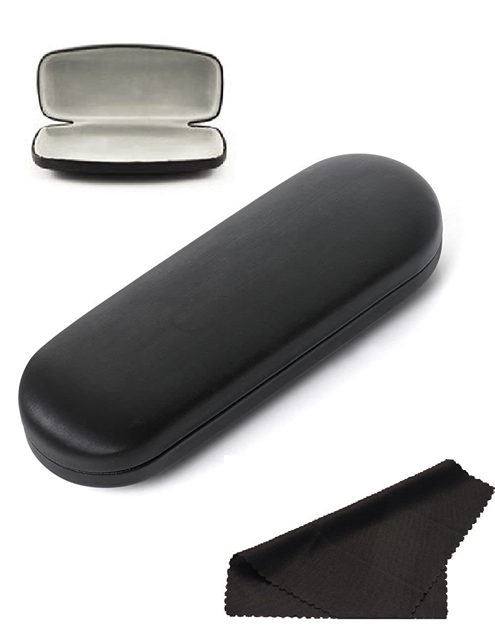 Glasses Case Hard Shell Holder For Reading Eyeglasses Eyewear W/Cleaning Cloth GC_FL_BLK