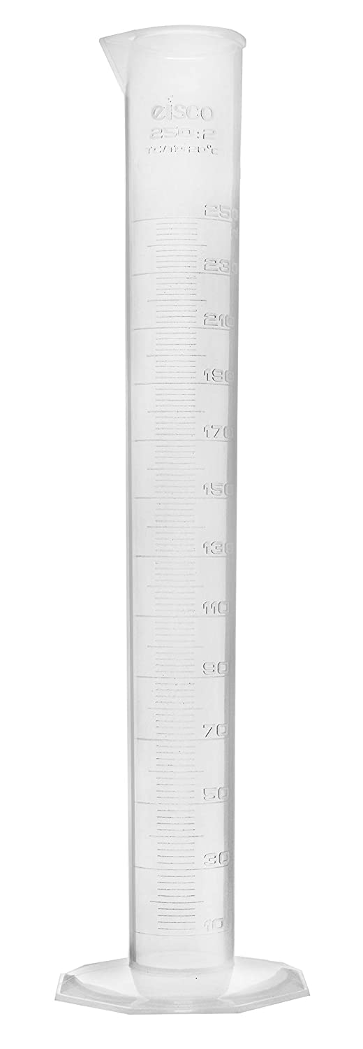 Measuring Cylinder, 250ml - Class B Tolerance - Octagonal Base - US Sourced Polypropylene Plastic - Industrial Quality, Autoclavable - Eisco Labs: Industrial & Scientific