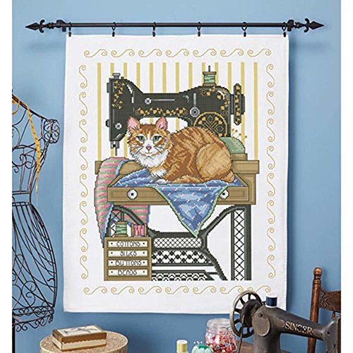 Herrschners Vintage Sewing Room Lap Quilt Top Stamped Cross-Stitch