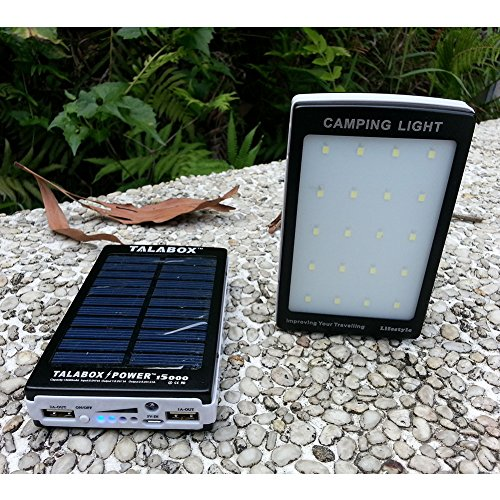 TALABOX 15000mah Portable Black solar charger solar power bank solar battery charger with Outdoor travelling Camping lamp Charging Compatible for IphoneX,iphoneX plus,iphone8,iphone8 plus,iphone7,7plusiphone6,6 Plus,5,5s,4,4s and Sumsung S8,S7,S6,S5,note8,note7,note6,HUAWEI Mate10,Mate9,Mate8,P10,P9,P8 and All Cell Phones Devices.(Black)